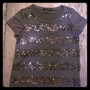 gray sequin striped top